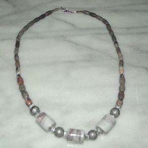 Natural Pink Jasper & Marbled Barreled Necklace